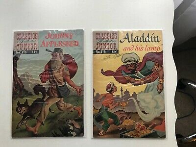Lot Of 2 Classics Illustrated Jr:  Johnny Appleseed & Aladdin And His Lamp