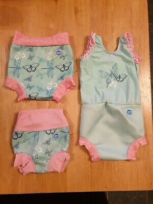 Splash About Girls Nappy Costume, plus 2x Happy Nappy (covering 0-9 months)