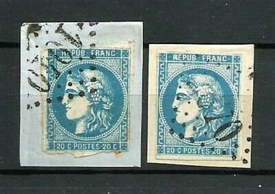 France Lot 2 Type CERES N° 46B le 20 C. BLEU Obl. Emission Bordeaux. Cote 50€