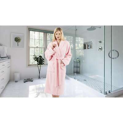 280ee27f0a Authentic Hotel and Spa Unisex Pink Turkish Cotton Terry Bath Robe with  White