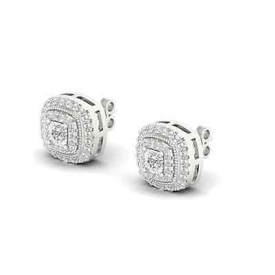 De Couer Sterling Silver IGI Certified 1/4ct Diamond Halo Stud Earrings
