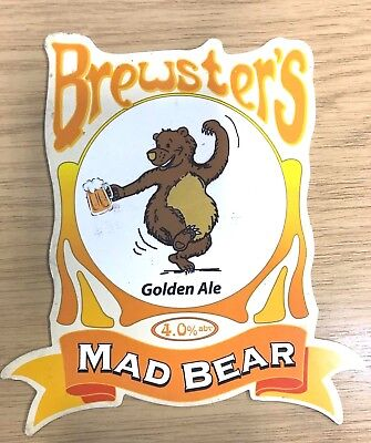 Mad Bear Golden Ale Beer Pump Clip Brewsters Brewery Lincs Dancing Bear