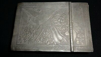 Antique Rare Decorated Japanese Or Chinese Makeup Jewelry Box Pewter Asian