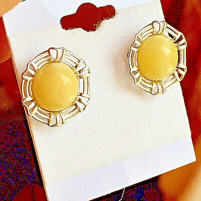 Baltic Amber Earrings Genuine Russian Vintage Butterscotch Egg Yolk Polish 老琥珀