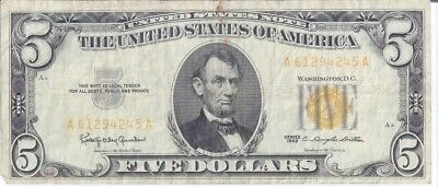 1963 $5.00 Bill Altered or Misprinted with Yellow Label and / Number / You Judge