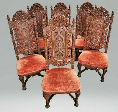 Set of 6 Antique American Carved Ornate Oak Dining Tall CHAIRS HORNER? ca.1890's