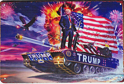 Large Metal Donald Trump Sign Tank Eagle Fire Works Beach Sea Landing War MAGA