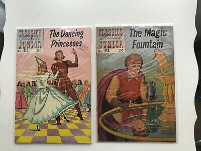 Lot Of 2 Classics Illustrated Jr:  The Dancing Princesses & The Magic Fountain
