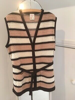 Vintage St Michael Marks & Spencer knitted tunic waistcoat with tie belt UK 16