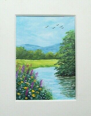 Original Riverside Wild Flowers Signed Landscape Miniature Aceo Painting