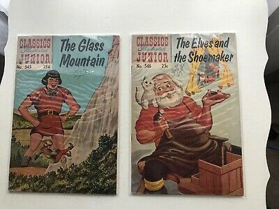Lot Of 2 Classics Illustrated Jr: The Glass Mountain & The Elves & The Shoemaker