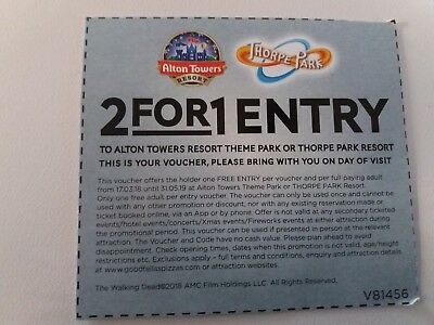 2 for 1 Entry Ticket Voucher - Alton Towers Resort - Thorpe Park   x