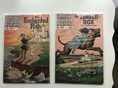 Lot Of 2 Classics Illustrated Jr:  The Enchanted Fish & The Tinder-Box