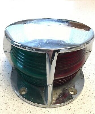 Vintage Heavy Stainless Boat Light Red Green Lens Bow Running SHIP NAUTICAL