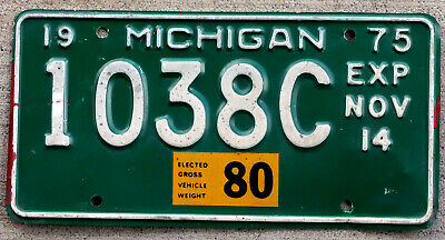 "1975 White on Green Michigan ""Elected Gross Vehicle Weight 80"" License Plate"