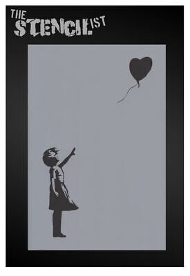 Banksy girl with heart balloon wall art stencil,Strong,Reusable,Recyclable