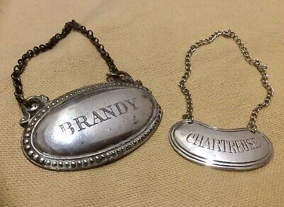 Antique Vintage Pair Decanter Label,Bottle Tag,Silver Tone,BRANDY,CHARTREUSE,Old