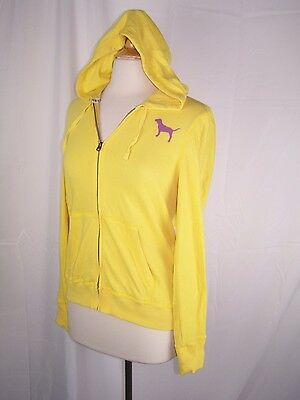 d1300e1ee PINK by Victoria s Secret Yellow Hoodie Full Zip Jacket Dog Beautiful Size  Large
