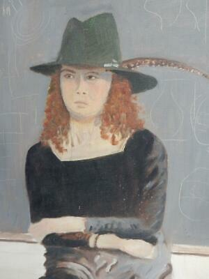vintage old PAINTING oil PORTRAIT WOMAN FEATHER HAT