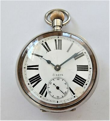 1900 Big Chunky Metal Cased (Omega) 8 Day Goliath Pocket Watch In Working Order