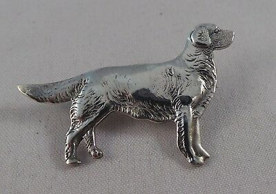 Superb Sterling Silver Retriever / Labrador Type Dog Pin / Badge / Brooch