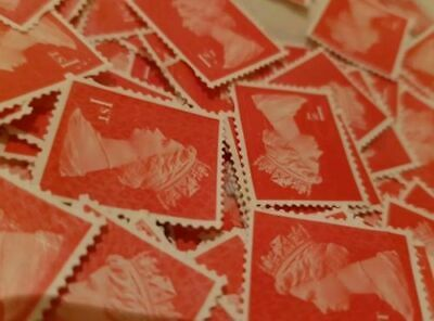 100 1St Class Unfranked Stamps Off Paper No Gum Security Value £67