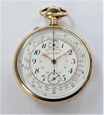 1900 Gold Filled Chronograph Centre Second Swiss Lever Pocket Watch Working