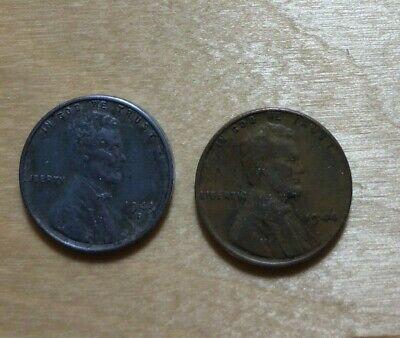2 Us Wheat Lincoln 1 Cent Penny Coin 1943 D Steel And 1944