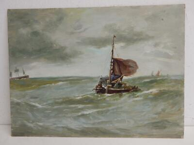 really old PAINTING oil sea scape sail boat
