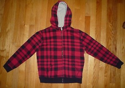 5fedb62ef LANDS' END BOYS Sherpa Sweatshirt Hoodie 10-12 Red Black Checkered ...