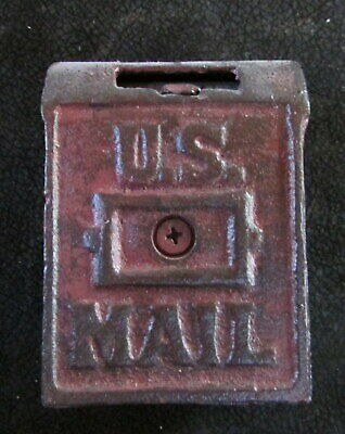 Vintage Cast Iron U.s. Mail Box Bank With Coin Letter Drop Slot