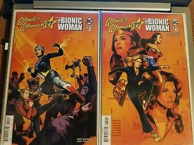 Wonder Woman '77 Meets Bionic Woman #2 and #6 DC Dynamite 1970s Action Lot NM
