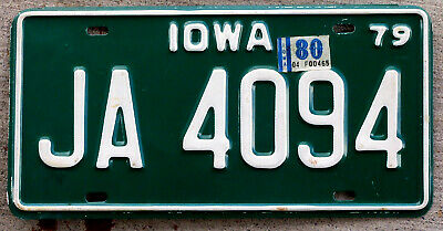 1979 White on Green Iowa License Plate with a 1980 Sticker