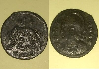 Constantine I 337 AD ancient Roman coin VRBS ROMA she wolf 3 dots Romulus, Remus