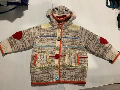 Eloise Sock Monkey  Button Sweater Size 6 To 12 Months