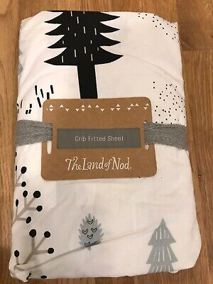 The Land of Nod 100% Organic Cotton Crib Fitted Sheet White Forest Friends