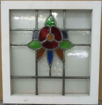 "OLD ENGLISH LEADED STAINED GLASS WINDOW Pretty Colorful Floral Design 18"" x 19"""