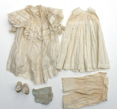 Antique c1890-1900s Doll Dress Lace Outfit + Undergarments Embroidery Victorian