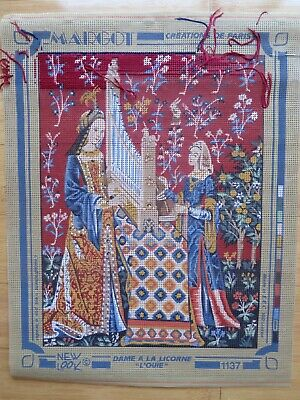 Partly worked French Tapestry Canvas – Margot Creations de Paris –Lady & Unicorn