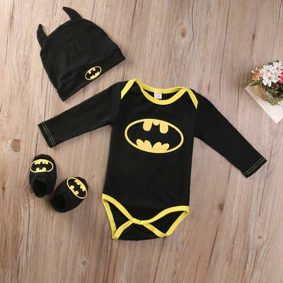 Newborn Baby Boy Girl Batman Rompers+Shoes+Hat Costumes 3Pcs Outfits Clothes