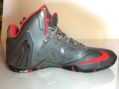 76fc1b4c13e3d Nike Lebron XI 11 Elite Team Collection Wolf Grey Laser Crimson 642846-001 Sz  10