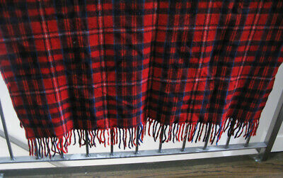 Vintage Pendleton Wool Red Plaid  Throw Blanket