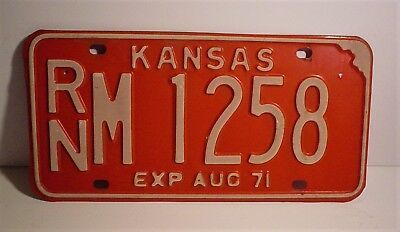 Old 1971 Kansas License Plate RNM-1258 Reno County Embossed Red & White Colors