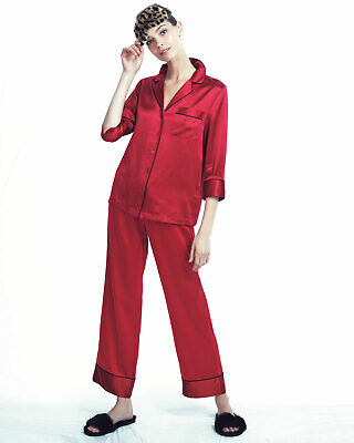 NEIMAN MARCUS SILK Satin Two-Piece Pajama Set Red Size Xs 100% silk ... a0b236cfe