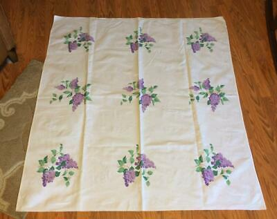 Vintage 54x49 Colorful Wilendur Lilac Flowers Floral MCM Printed Tablecloth EUC