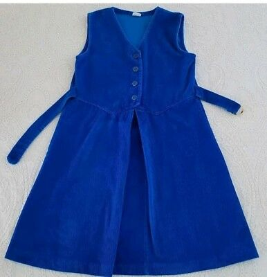 Vintage Girls Corduroy Jumper Dress Childrens Clothes Blue