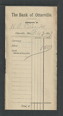 1897 The Bank Of Otterville Mo Antique Deposit Slip { Silver / Gold / Currency }