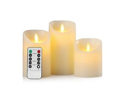 3PC Flameless Candles Battery Operated Pillar Wax Flicker Moving Wick LED Candle