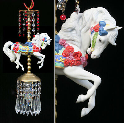 Porcelain Horse Carousel Lamp SWAG Chandelier Vintage Crystal Rose Red Beaded