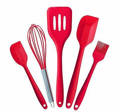 Cooking Utensils - Silicone Kitchen Set in Hygienic Solid Coating (5 Piece)